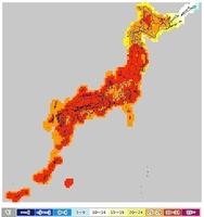 7月11日の日中の予想最高気温分布(気象庁HPより)
