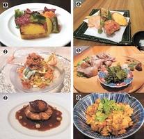 (1)福井野菜のクリュディテ(2)セイコガニと福井野菜の冷たいカペッリーニ(3)ふくいサーモンと越前野菜のガレット(4)秋の福井野菜の天ぷら盛り合わせ(5)イノシシのソテー もみわかめと6種のスパイス(6)打ち豆カレー