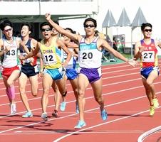 成年男子800メートル決勝 1分47秒45の大会新で優勝した村島匠(福井県スポーツ協会)=10月9日、福井県福井市の9・98スタジアム