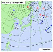 1月2日午前9時の予想天気図(気象庁ホームページより)