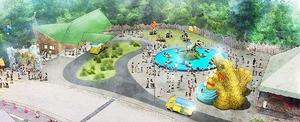 新たに開設するガオガオ広場のイメージ図。左の建物がかつやまディノパーク受付・休憩棟
