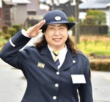 消防団員、黒田富子さん=福井県大野市