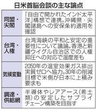 「大型サイド」日米首脳会談 安保、人権で対中姿勢焦点