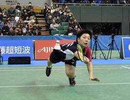 女子シングルスで決勝に進出した山口茜=東京・駒沢体育館