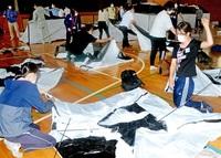 密防ぐ避難所 設置確認 永平寺町職員が災害訓練