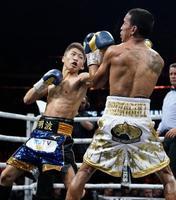 2回、エマヌエル・ロドリゲスを攻める井上尚弥。TKOで下し、決勝に進出した=グラスゴー(共同)