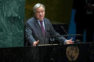 演説するグテレス国連事務総長(AP=共同)
