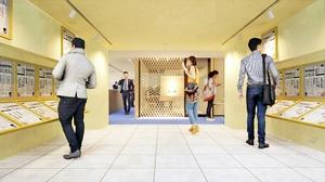 動画スタジオ入り口付近のイメージ図。新聞の歴史などを伝えるオープンスペースの一角にある
