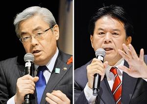 公開討論会に臨んだ東村新一氏(左)と笹木竜三氏=30日夜、福井市のアオッサ
