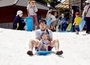酷暑の中、大雪2月の雪でそり遊び