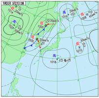 5月27日正午の天気図(気象庁HPより)