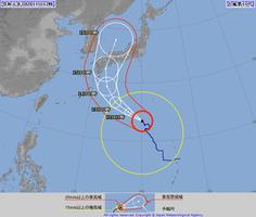 2019年8月11日正午時点の台風10号の進路予想図(気象庁ホームページから)