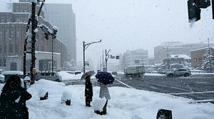 寒気の影響で雪が降り続く福井市内=5日