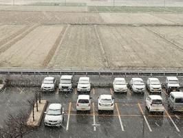 久しぶりの降雪が見られた福井県福井市。車はうっすらと雪に覆われた=3月16日