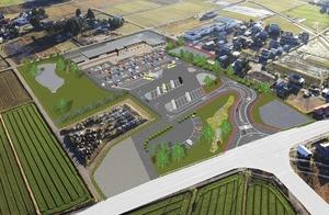 2021年にオープンする道の駅「結の故郷(仮称)」の鳥瞰図。モンベルが福井県内初出店する(大野市提供)