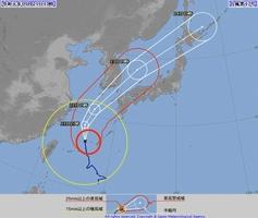 台風17号の経路予想図=2019年9月21日午前10時時点(気象庁HPから)