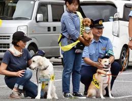 交通安全運動のイベントに登場した「犬のおまわりさん」=10日午前、宇都宮市