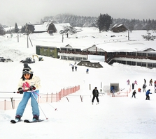 ことしオープンした六呂師高原スキーパーク。初心者向けの緩やかなゲレンデが整備された=1月、福井県大野市南六呂師