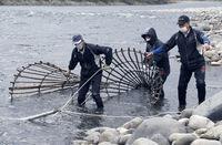 アラレガコの伝統エバ漁始まる