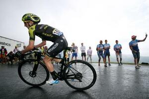 ツール・ド・フランス、第15ステージを制したサイモン・イエーツは21日、フォアプラトダルビス(ゲッティ=共同)