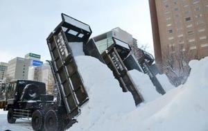 「第69回さっぽろ雪まつり」会場の大通公園にトラックで運び込まれた雪=7日午前、札幌市中央区