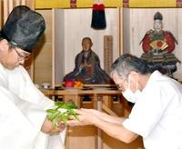 平安末期の武将 斎藤実盛しのぶ 坂井・館跡の堂で慰霊祭