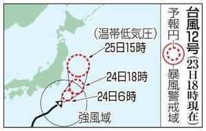 台風12号の予想進路(23日18時現在)