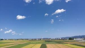 台風一過、さわやかな青空が広がった福井県福井市内の空