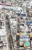 地価が上昇しているJR福井駅周辺の商業地=福井新聞社ヘリから撮影