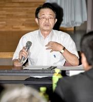 拉致問題の早期解決を訴えた地村保志さん=7月7日、福井県小浜市働く婦人の家
