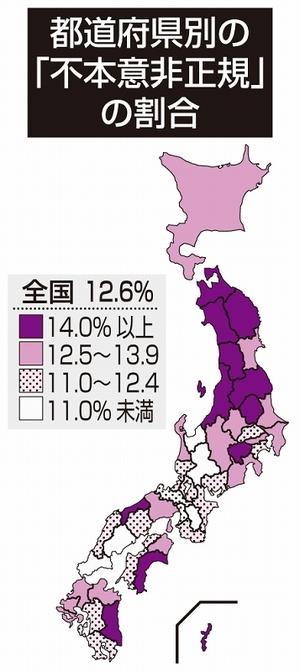 働く人の割合、福井県がトップ