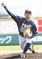 富山-福井 6回を2失点に抑えた福井の先発望月嶺=高岡西部総合公園野球場