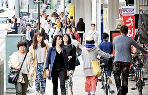 ハピリン方面から歩いてくる買い物客らでにぎわう通り=6日、福井市中央1丁目