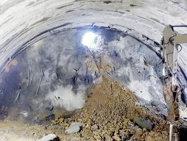 大野油坂道路で初めて貫通した下山トンネル=10月24日、福井県大野市下山