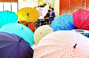 色とりどりの雨傘や日傘が広がる作業場=19日、福井市浜別所町の福井洋傘