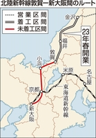 北陸新幹線敦賀ー新大阪間のルート
