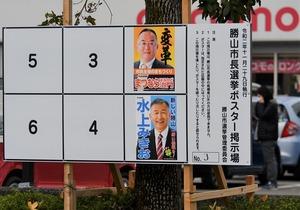 勝山市長選選挙のポスター掲示場=11月22日、福井県勝山市