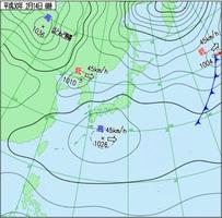 14日午前6時の実況天気図(気象庁HPより)