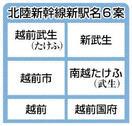 北陸新幹線の新駅名、最終候補6案