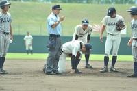 高校野球決勝、若狭にアクシデント