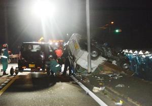 小学生の列に車が突っ込んだ現場=30日午後7時ごろ、岡山県赤磐市