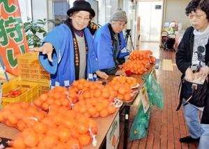 東浦みかんをPR販売する生産者=8日、福井県敦賀市役所