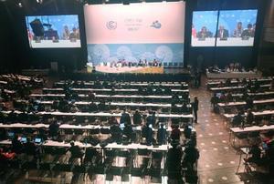大詰めを迎えた気候変動枠組み条約第23回締約国会議(COP23)の本会議場=18日、ドイツ・ボン(共同)