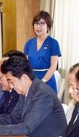 自民党の臨時総務会であいさつする稲田朋美氏=9月11日、党本部
