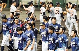 福井―巨人3軍 大敗し、ベンチに引き揚げる福井ナイン=福井フェニックススタジアム