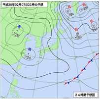 7日午後9時の予想天気図(気象庁HPより)