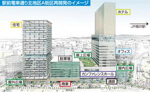 世界最大のホテルチェーンの米マリオット・インターナショナルが進出する福井県福井市のJR福井駅西口再開発のイメージ