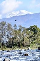 白く雪化粧した白山の山頂付近=11月1日、福井県勝山市鹿谷町保田から