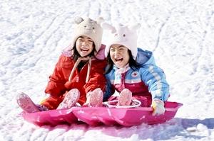 そり遊びを楽しむ子どもたち=14日、福井県勝山市の「かつやま恐竜の森スノーランド」