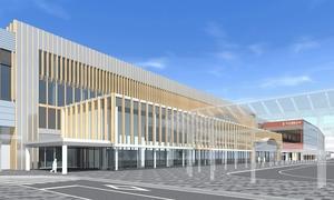 福井県福井市のアオッサ側から見た北陸新幹線福井駅舎の外観イメージ。手前が拡張施設で、右奥がえちぜん鉄道の新たな福井駅舎